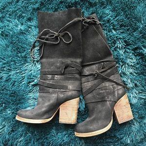 Free People suede black tall heeled booties